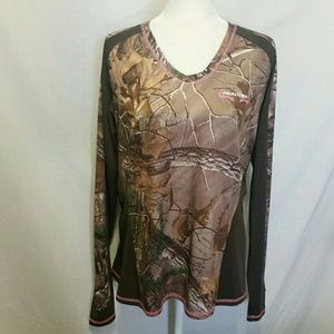 Realtree Brown/Pink Camo Top Size L